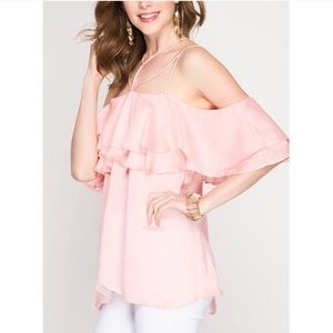Tops - 💖HOST PICKx2 Ruffle sleeve off shoulder satin top